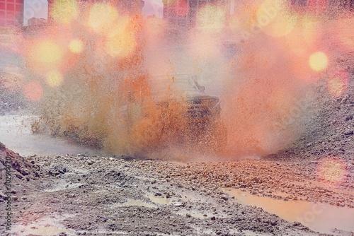 Foto auf Gartenposter Beige Offroad contests and powerful engines