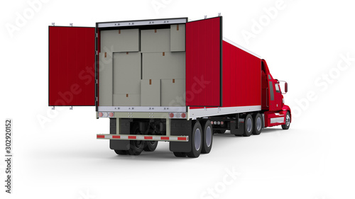 Obraz Generic American red semi truck with semi trailer with opened back doors and box packages inside from the back right view, photo realistic isolated 3D illustration on the white background. - fototapety do salonu