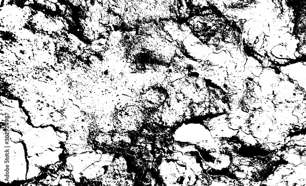 Fototapety, obrazy: Distressed overlay texture of rough surface, cracked concrete, stone and asphalt. Grunge background. One color graphic resource.