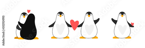 Set wektorowi pingwiny dla pepiniera projekta, kreskówki śliczna stylowa ilustracja dla dzieciaka