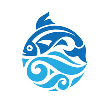Fish And Sea Waves In Circle Shape - Concept Logo Vector Illustration. Salmon Fish Blue Icon Emblem. Creative Graphic Sign.