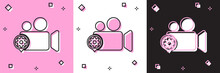 Set Movie Or Video Camera And Gear Icon Isolated On Pink And White, Black Background. Adjusting App, Service Concept, Setting Options, Maintenance, Repair, Fixing. Vector Illustration