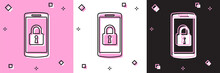 Set Smartphone With Closed Padlock Icon Isolated On Pink And White, Black Background. Phone With Lock. Mobile Security, Safety, Protection Concept. Vector Illustration