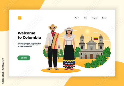 Fotografering  Colombia Tourism Page Design