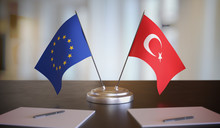 Turkey And EU Flags On Table. ...