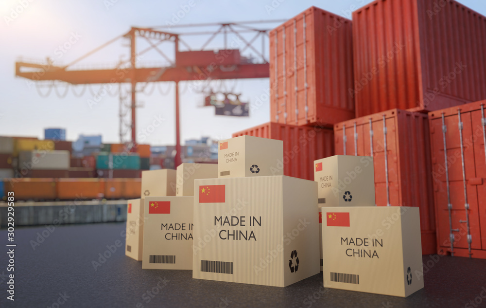 Fototapeta Many chinese cargo containers and cardboard boxes. Importing goods from China concept. 3D rendered illustration.