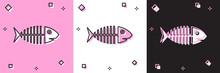 Set Fish Skeleton Icon Isolate...