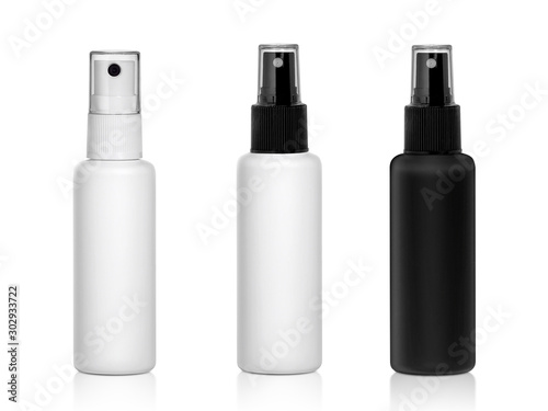 Foto Plastic spray bottles isolated on white background
