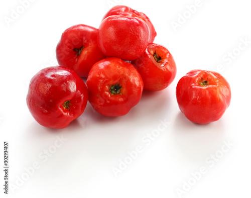 acerola fruit, barbados cherry isolated on white background Canvas Print