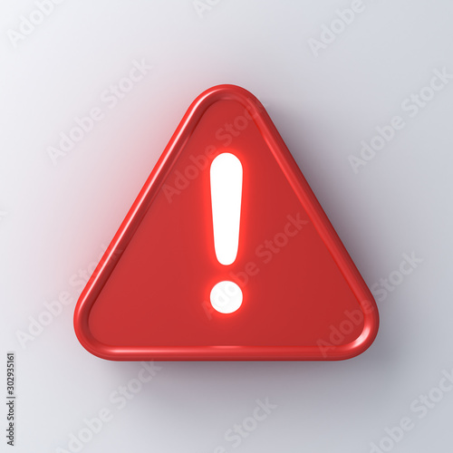 Photo 3d red hazard warning attention sign with neon light exclamation mark symbol ico