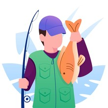 Fisherman With Fish On His Hand Illustration