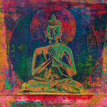 Ancient Buddha Mandala With Textured And Grunge Painted Overlays For A Modern Contemporary Style.