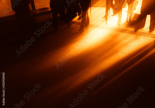 Dramatic light beams at hallway entrance background Fototapet