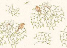 Seamless Pattern, Background. Mistletoe, Robin Bird And Ribbon. Graphic Drawing, Engraving Style. Vector Illustration..