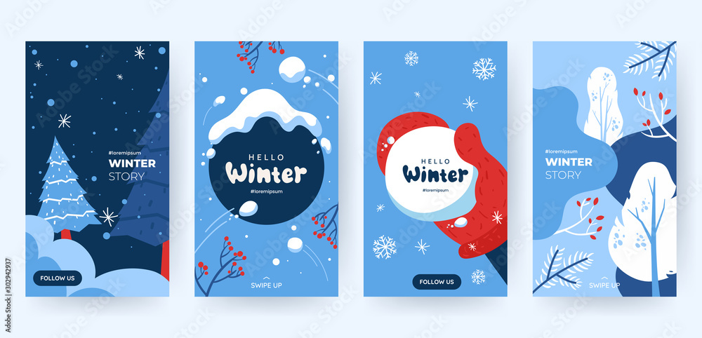Fototapety, obrazy: Set of abstract winter backgrounds for social media stories. Colorful winter banners with falling snowflakes, snowy trees. Wintry scenes . Use for event invitation, discount voucher, ad. Vector eps 10
