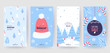 Colorful christmas banners with cute winter illustrations. Set of winter social media stories template. Background collection with place for text. Use for event invitation, promo, ad. Vector eps 10