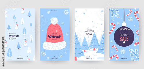 Fototapeta Colorful christmas banners with cute winter illustrations. Set of winter social media stories template. Background collection with place for text. Use for event invitation, promo, ad. Vector eps 10 obraz