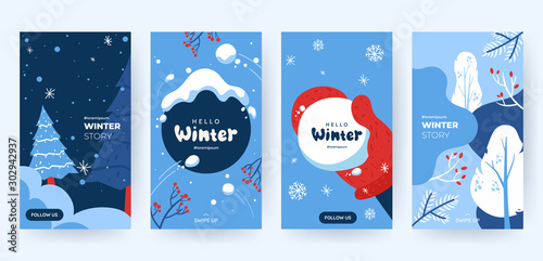 Fotomural  Set of abstract winter backgrounds for social media stories