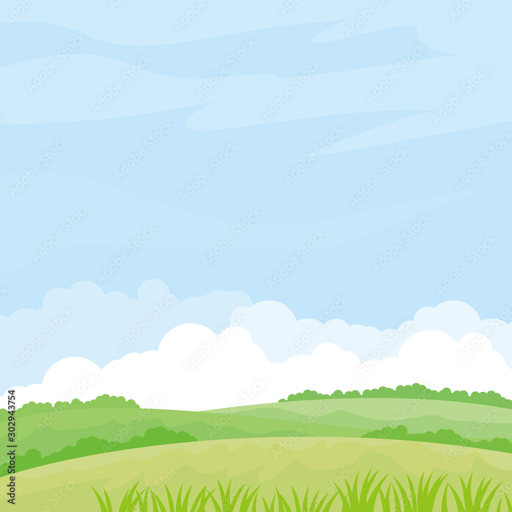 Fototapety, obrazy: Nature landscape vector illustration. Field vector illustration with green grass and some plant