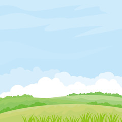 Nature landscape vector illustration. Field vector illustration with green grass and some plant