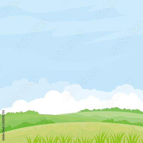Foto auf AluDibond Licht blau Nature landscape vector illustration. Field vector illustration with green grass and some plant