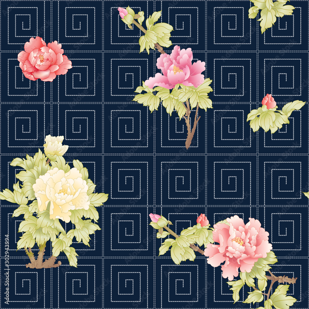 Peony tree branch with flowers in the style of Chinese painting on silk with Imitation of traditional Japanese embroidery Sashiko. Seamless pattern, background. Colored vector illustration.