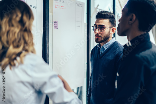Obraz Young crew of intelligent male and female professionals analyzing productivity of company during work time in conference room, colleagues talking and discussing ideas about teamwork with employees - fototapety do salonu