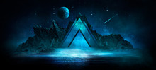 Futuristic Night Landscape With Abstract Landscape And Island, Moonlight, Shine. Dark Natural Scene With Reflection Of Light In The Water, Neon Blue Light. Dark Neon Circle Background. 3D Illustration