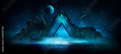 Fotografía Futuristic night landscape with abstract landscape and island, moonlight, shine