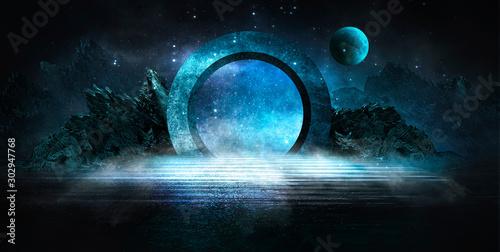 Fototapeta premium Futurystyczny nocny krajobraz z abstrakcyjnym krajobrazem i wyspą, blask księżyca, blask. Ciemna naturalna scena z odbiciem światła w wodzie, neonowo-niebieskie światło. Ciemne tło koło neonowe. Ilustracja 3D
