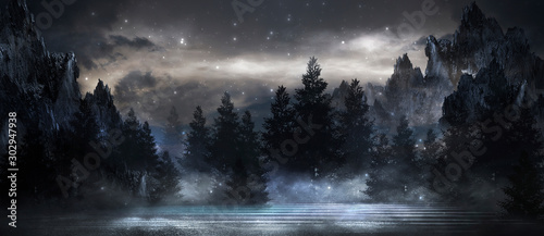 Futuristic night landscape with abstract landscape and island, moonlight, shine. Dark natural scene with reflection of light in the water, neon blue light. Dark neon background. 3D illustration - 302947938