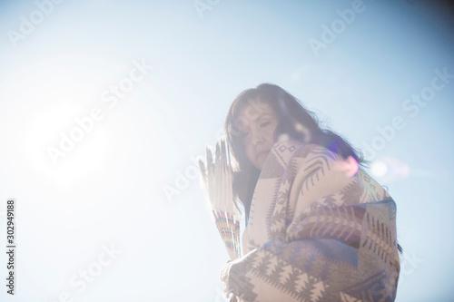 Fotografie, Obraz Modern traditional Navajo woman in New Mexico.