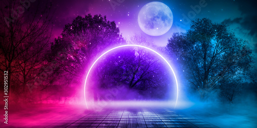 Night landscape, dark forest, river. Night sky, mountains. Reflection in the water of moonlight. Dark futuristic natural background. 3D illustration.