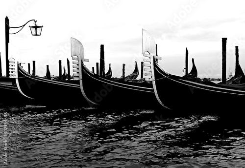 Spoed Fotobehang Gondolas Three moored gondolas boats in Venice