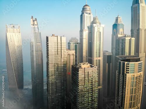 Dubai, Dubai / United Arab Emirates / 10 19 2019: Dubai Marina Towers Fog Fototapet