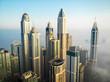 Dubai, Dubai / United Arab Emirates / 10 19 2019: Dubai Marina Towers Fog
