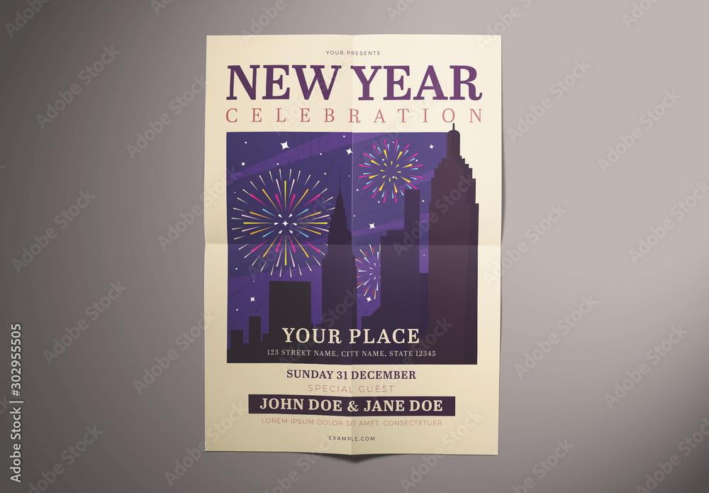 Fototapety, obrazy: New Year Celebration Flyer Layout with Fireworks