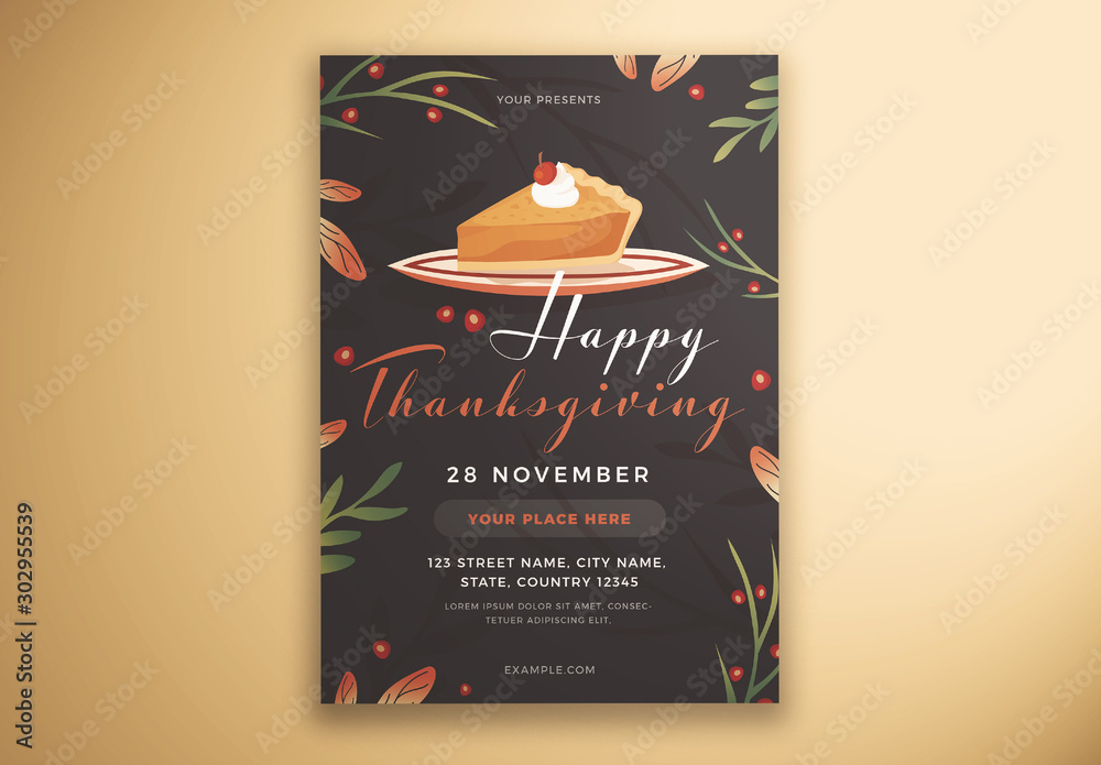 Fototapeta Happy Thanksgiving Flyer Layout with Cake and Leaves