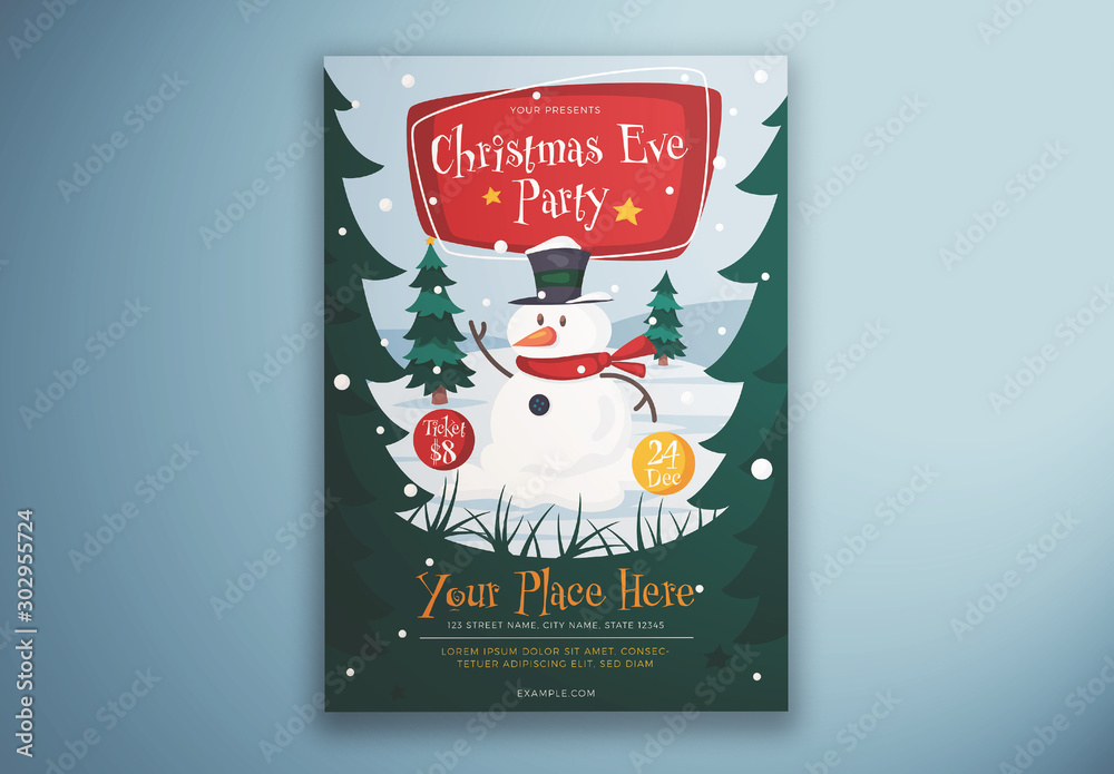 Fototapeta Christmas Eve Party Flyer Layout with Snowman