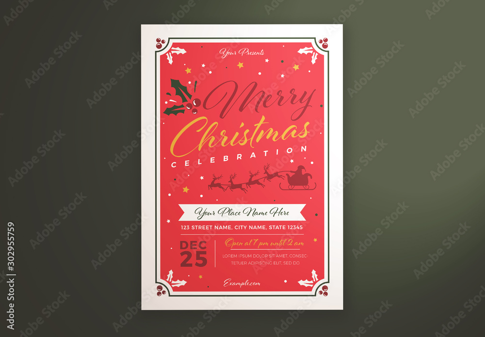 Fototapeta Christmas Celebration Flyer Layout with Santa and Reindeer