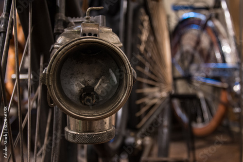 Vintage bike lamp close-up