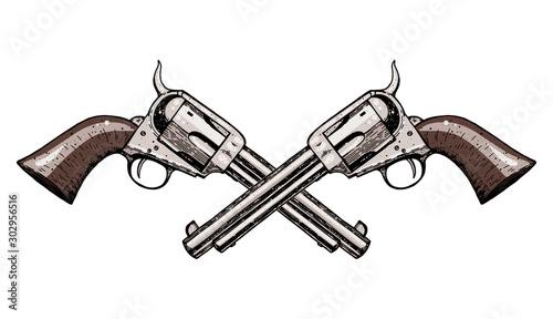 Stampa su Tela Hand drawn revolvers vector illustration