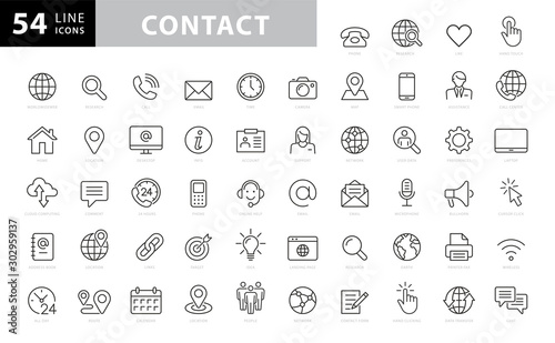 Photo Set of 54 Contact Us web icons in line style