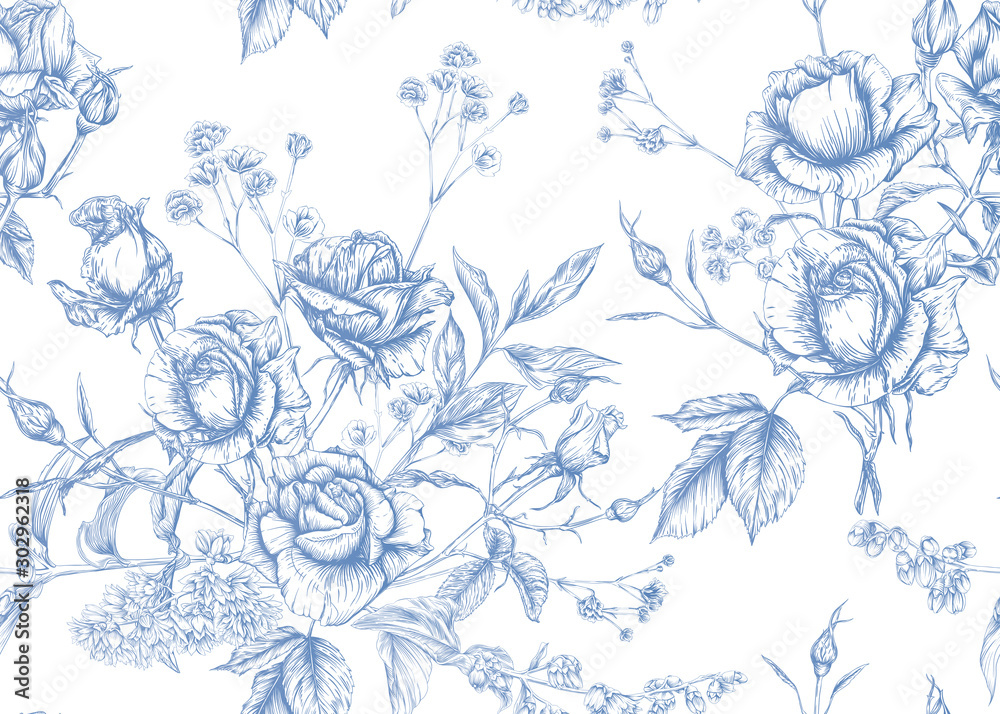 Fototapeta Roses and spring flowers seamless pattern. Graphic drawing, engraving style. Vector illustration.
