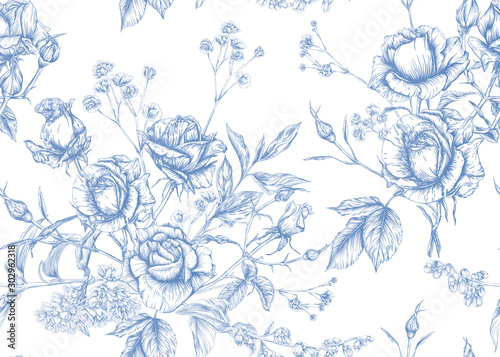 Roses and spring flowers seamless pattern. Graphic drawing, engraving style. Vector illustration.