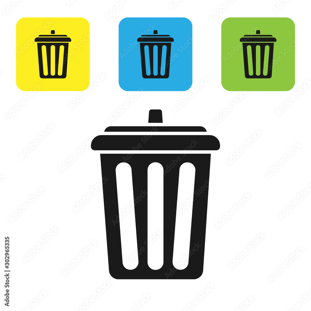 Fototapeta Black Trash can icon isolated on white background. Garbage bin sign. Recycle basket icon. Office trash icon. Set icons colorful square buttons. Vector Illustration