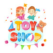 Toy shop koncept with children with toys and teddybear, decorations around.