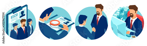 Vector of job candidates, being interviewed and recruited for company vacant positions.