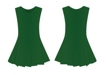 Green Woman Dress. Vector Illustration