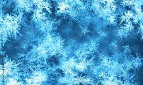 Obraz Beautiful textured frozen glass window background with snowflakes - fototapety do salonu